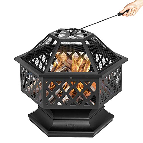 Bonnlo 24-Inch Outdoor Fire Pit with Mesh Screen and Poker Hex Shaped Metal Wood Burning Bonfire Pit for Outdoor Camping Patio Backyard Garden – 8 Deep Bowl