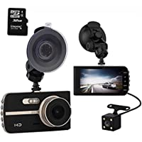 AlwaysOnline 4 IPS Screen FHD 1080P Front + Rear 290 Degree Angle Car Dash Cam with G-Sensor, Motion Detection, Parking Mode etc. 32GB SD Card Included