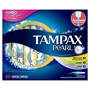 Tampax Pearl Plastic Tampons, Triplepack, Light/Regular/Super Absorbency, Unscented, 50 Ct, Packaging May Vary