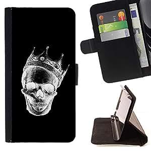 Momo Phone Case / Flip Funda de Cuero Case Cover - Corona Negro Blanco Cráneo de la muerte de la roca - HTC One M8