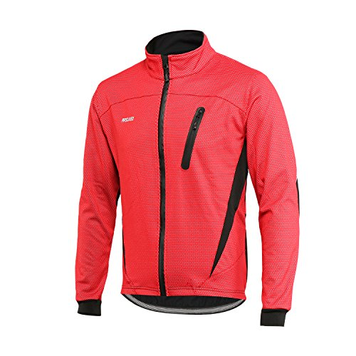 - ARSUXEO Winter Warm UP Thermal Fleece Cycling Jacket Windproof Waterproof Breathalbe 16H Red Size Small
