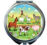 Rikki Knight Farm Animals With Background Design Round Compact Mirror