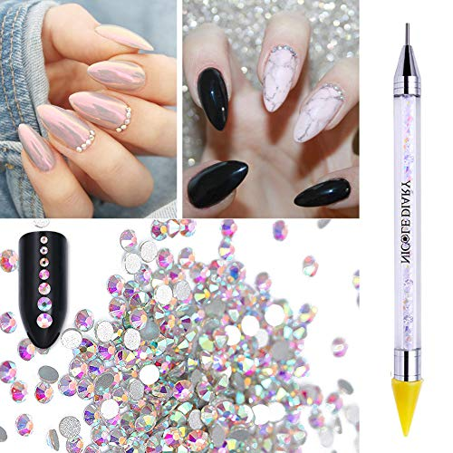 NICOLE DIARY Crystal AB Colorful Rhinestones Flatback Round Gems Beads 1440Pcs SS6 2mm with 1Pc Dual-ended Wax   Picker Pencil for Rhinestones Nail Face Body Art DIY Daily Festival Decoration