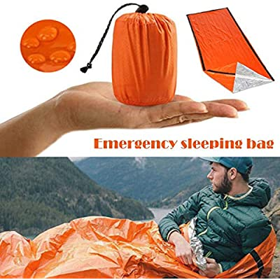 JIEHED Emergency Sleeping Bag, Thermal Waterproof Survival Sleeping Bag PE Aluminum Film, Bivvy Bag Lightweight Reflective Lining Interior, Thermal for Music Festivals Outdoor Camping Hiking