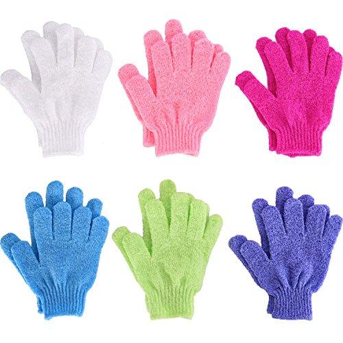6 Pairs Double Sided Exfoliating Gloves Body Scrubbing Glove Bath Scrubs...