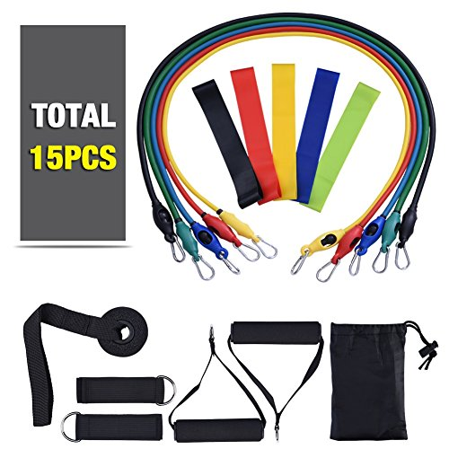15pcs Resistance Band Set, Include 5 Exercise Bands,5 Yoga B
