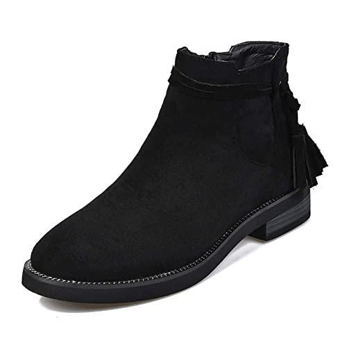 fa7771ea4a9 Meeshine Women's Suede Zipper Bootie Casual Comfortable Low Heel Walking  Boot Shoes