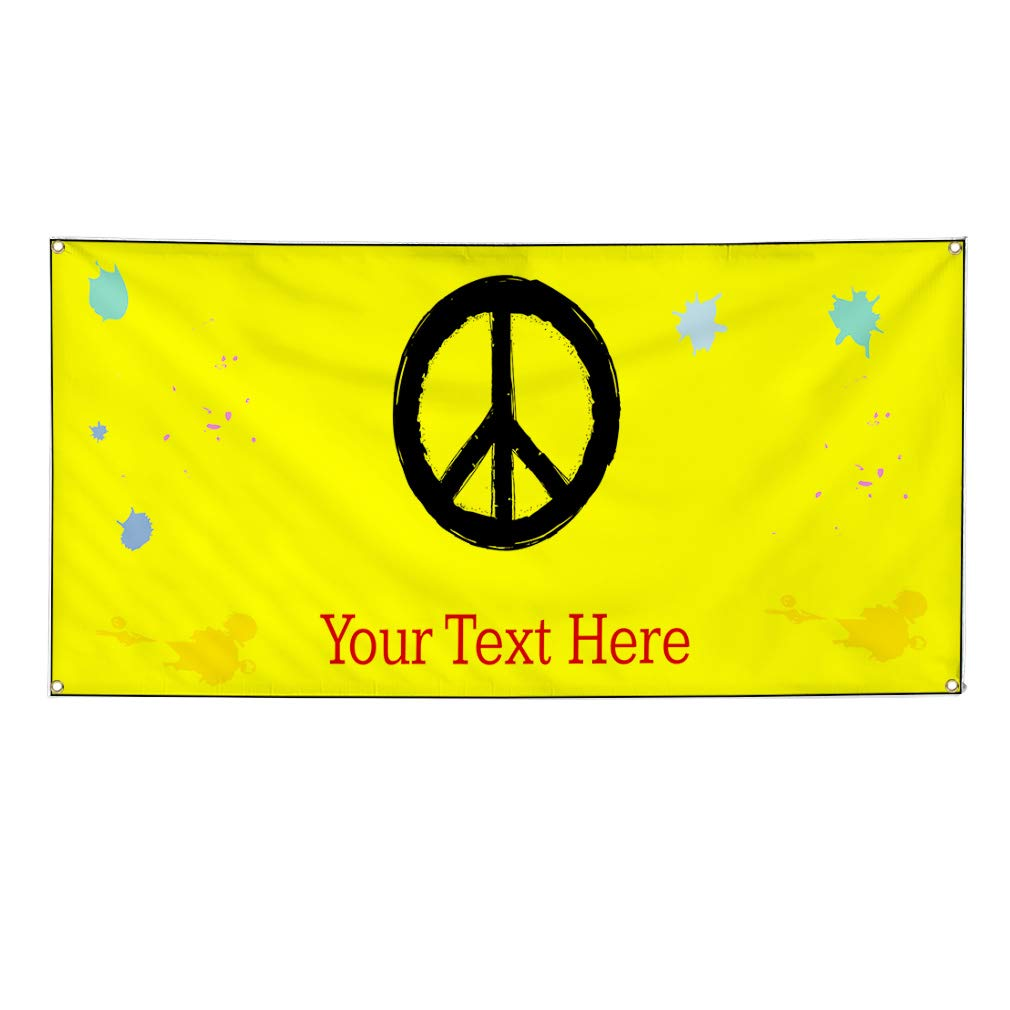 Custom Industrial Vinyl Banner Multiple Sizes None Style O Personalized Text Here Funny and Novelty Outdoor Weatherproof Yard Signs Yellow 4 Grommets 28x70Inches