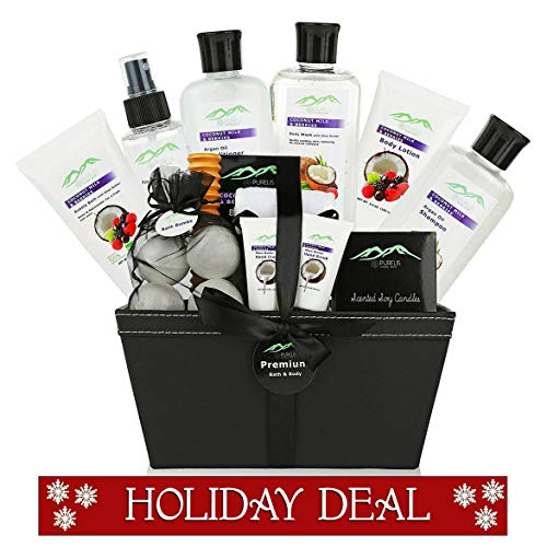 Premium Deluxe Bath & Body Gift Baskets. 18 PC Large Spa Basket for Birthday Gifts Holiday Gift etc. #1 Spa Gift Basket for Women, Teens! Women Gift Basket Ideal for Mothers Day Gift for Mom! ()