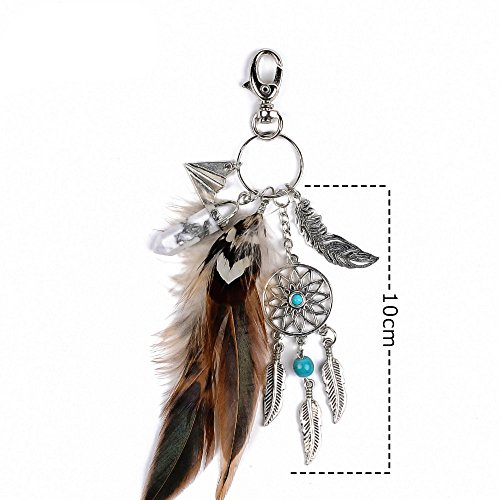 Dremisland keychain keyring natural opal stone dreamcatcher keyring fashion silver boho ornament feather keychainvv (Brown) Photo #3