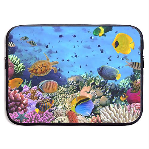 13-15 Inch Laptop Sleeve Summer Marine Animal Theme Deep Sea Turtles Starfish Corals Notebook Computer Pocket Case/Tablet Briefcase Carrying Bag MacBook Bag for -
