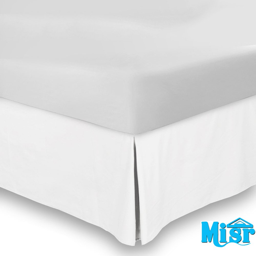 By MISR Misr Linen ML-QU-1PCS-PS-15-WHTE White - Queen Premium 100/% Egyptian Cotton Bed skirt 15 Drop Length Hotel Collection Finest Quality Long Staple Durable Comfortable