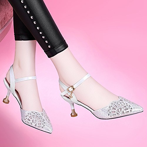 sandalias white RUGAI Noche con llevar gran código Baotou tacón verano señoras UE de zapatos w8qCHwO