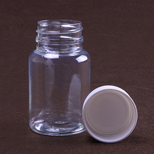 12Pcs 80ml Clear Transparent Empty Plastic Pack Bottles Jars Refillable Cosmetic Container Solid Powder Medicine Pill Cylindrical Chemical Container Reagent Bottle by goodxy (Image #3)