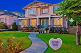VictoryStore Yard Sign Outdoor Lawn Decorations:  Giant Lighted 'Love You' Candy Heart Valentine Sign 2 EZ stakes