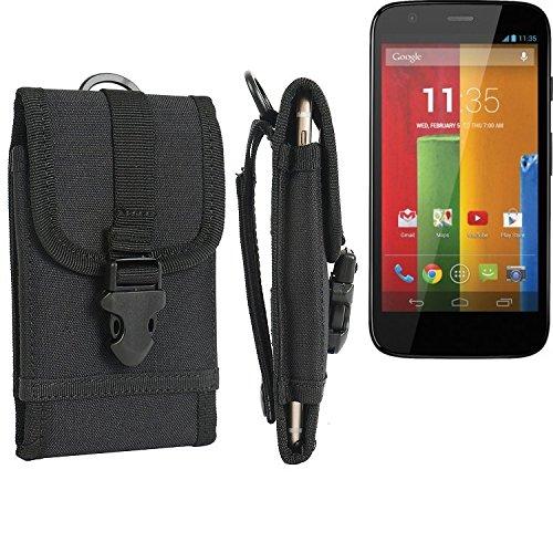 bolsa del cinturón / funda para Motorola Moto G, negro | caja del teléfono cubierta protectora bolso - K-S-Trade (TM)