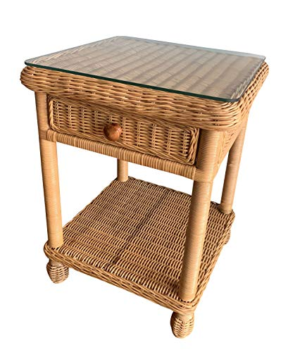 Traditional Wicker One Drawer Nightstand - - Wicker Traditional