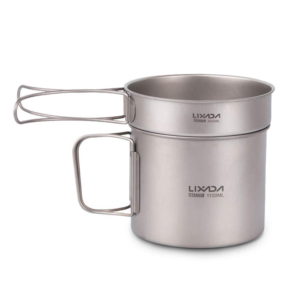 Lixada Camping Cookware Set Ultralight Titanium Cookset 1100ml Pot and 350ml Fry Pan with Folding Handles by Lixada