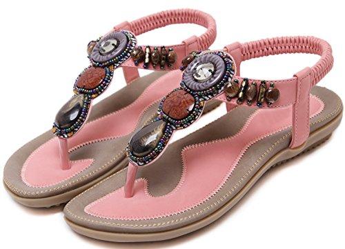 Plano Thong Sandalias Mujer Playa Con brillo Beads Antideslizante Soft Sole Elástico Bohemio Sandalias de BIGTREE Rosa