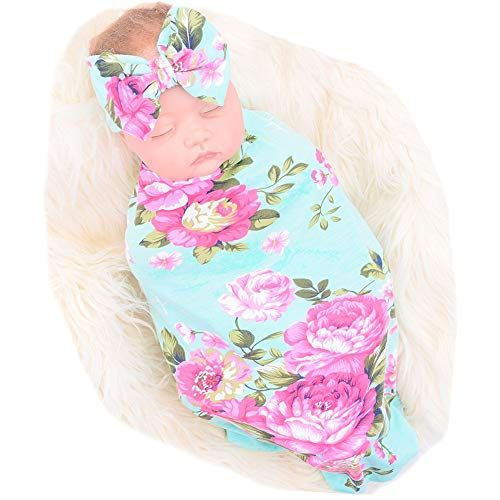 Newborn Receiving Blanket Headband Set Flower Print Baby Swaddle Receiving Blankets - Swaddler Blue Blankets Baby