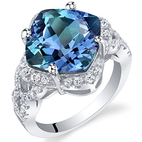 7.50 Carat Simulated Alexandrite Sterling Silver Cushion Halo Ring Size 7