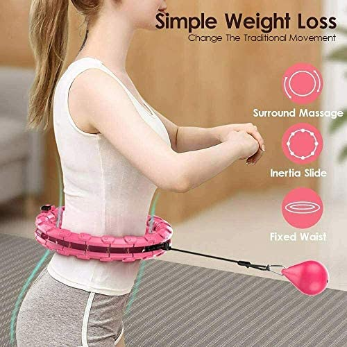 Smart Hula Hoop, Abdomen Fitness Equipment, 24 Detachable Knots Adjustable Weight Auto-Spinning Ball, 2 in 1 Fitness Weight Loss and Massage, Detachable, for Adults/Kids/Beginner Fitness Aids,Home Workout 2