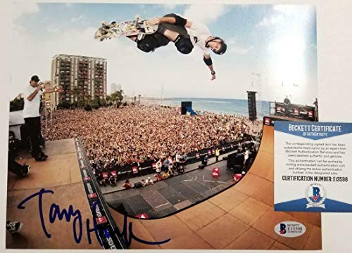 (TONY HAWK Signed 8x10 Photo Autograph Skateboard Legend ~ Beckett BAS COA - Beckett Authentication - Autographed Extreme Sports Photos)