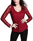 Women's V-neck Floral Lace Overlay Lined Long Sleeve Top (XL, Wine Red)