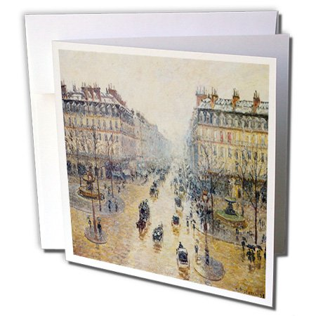 1898 Fine Art - 3dRose BLN Scenes of Winter Fine Art Collection - Avenue de L Opera, Morning Effect of Snow, 1898 by Camille Pissarro - 12 Greeting Cards with envelopes (gc_180238_2)