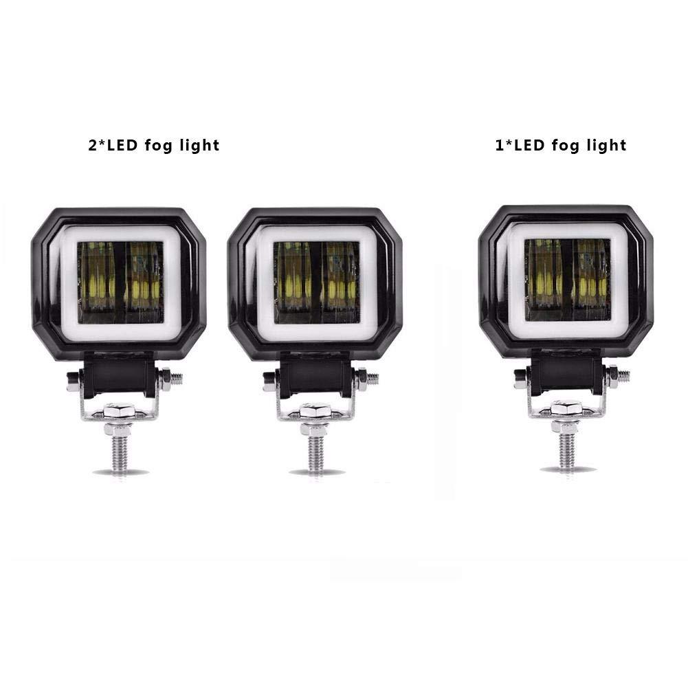 20W Quadratische LED-Engels-Augenlicht 6000K Bar Wasserdichtes Nebelscheinwerferlicht Mit Blende F/ür Motorrad Gel/ändewagen kapokilly Motorrad-Nebelscheinwerfer