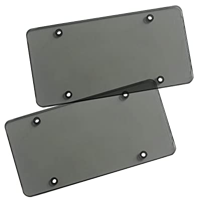 Zone Tech Clear Smoked Unbreakable License Plate Shields - 2-Pack Novelty/License Plate Clear Smoked Flat Thick Shields: Automotive