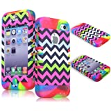 BasTexWireless Bastex Hybrid Case for Apple Iphone 4, 4s - Colorful Bright Tie Dye Silicone with Hard Chevron Design Shell