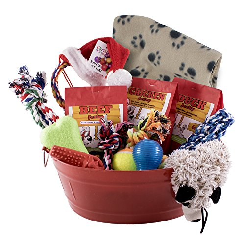 Holiday Dog Toy Gift Basket with Assortment of Durable Dog Toys and Natural Dog Treats with FREE Adorable Santa Pants Dog Treat Ornament