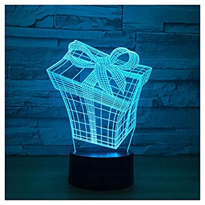 HGXC 3D Phantom Night Light, 7 Color Color Touch Switch USB Charging Lighting Bedroom Home Decoration lamp