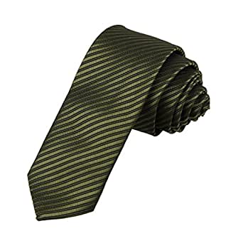 DAE2031 Olive drab Black Young Slim Tie Matching Present Box Set Stripes Cheap Skinny Tie ST By Dan Smith, CID-046-11 ,One Size