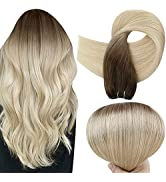 Full Shine Hair Weft Extensions 18 Inch Straight Weft Hair Extensions Color 3 Fading To 8 and 613...