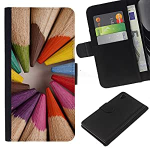 Planetar® Modelo colorido cuero carpeta tirón caso cubierta piel Holster Funda protección Sony Xperia Z4v / Sony Xperia Z4 / E6508 ( Pencil Coloring Wood Painter Artist )