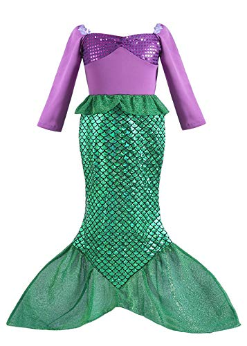 ALIZIWAY Little Girl Mermaid Princess Dresses Ariel Costume for Grils Birthday Party Halloween Cosplay Costumes (5-6 Years) Y058L