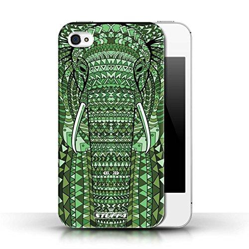 Coque en plastique pour Apple iPhone 4/4S Collection Motif Animaux Aztec - éléphant-Vert