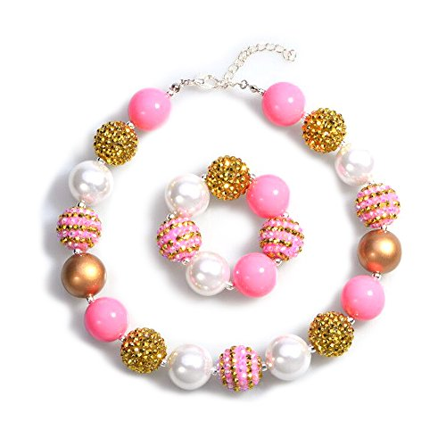 Bling Bling Chunky Bubblegum Necklace Pink and Gold Fashion Beads and Bracelet Set with Gift Box for Baby Girls (Pink & Gold) -