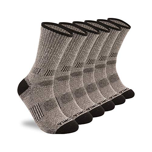 - YingDi Mens Winter Merino Wool Cushion Hiking Crew Socks – Pack of 3 pairs Grey