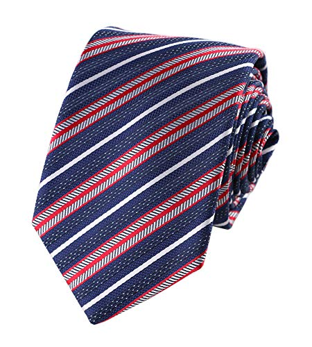 Men's Boys Navy Red White Geometric Striped Tie Trendy Patterned Fashion Dress Suit Necktie ()
