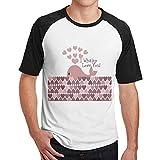 Sakanpo Men Pink I Whaley Love You Design Short Sleeve Baseball Tee Raglan T-Shirt Black