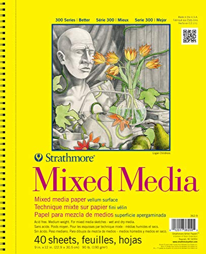 Strathmore 300 Series Mixed Media Pad, 9''x12'' Wire Bound, 40 Sheets by Strathmore