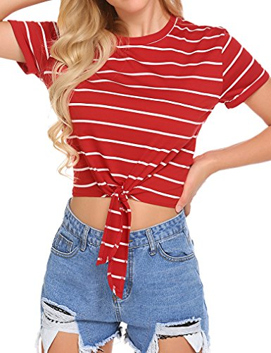Locryz Women Knot Front Cuffed Sleeve Striped Crop T Shirt Tops (L, Red and White)