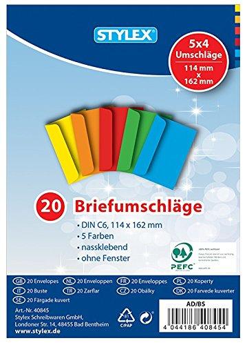 Briefumschläge, farbig, C 6, 20 Stück