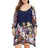 AMSKY Casual Navy Blue Dress for Women,Fashion Women Plus Size Cold Shoulder Strapless Long Sleeve Flower Printed Dress,Women's Dresses,Navy,XL