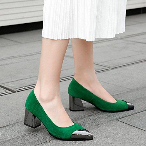 La mujer 37 Sandalias Green Rough tacones Transpirable Zapatos elegante de los Señalado nueve Treinta zapatos 5cm Solo Joker talon y Moda AJUNR zO1CwBxq1S