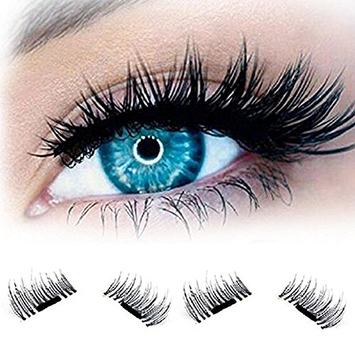 ICHARRMEVA False Magnetic Eyelashes 4 Pcs/Pairs 3D Fake Soft Makeup Mink Eyelashes Natural Eye (Easy Self Made Halloween Costumes)