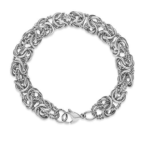 ELYA Jewelry Womens Stainless Steel Intricate Byzantine Link Bracelet, 8-Inch, White